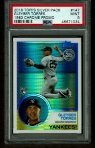 2018 TOPPS CHROME SILVER PACK REFRACTOR GLEYBER TORRES ROOKIE CARD RC SP PSA 9