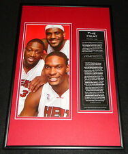 Lebron James Dwyane Wade Chris Bosh Miami Heat Framed 12x18 Photo Display