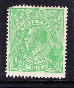 AUSTRALIA GV SG48a 1/2d thin '1' in fraction right wmk6a no gum corner pf cv£100