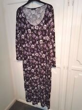 F&F purple brown ivory and black floral maxi dress, size 20