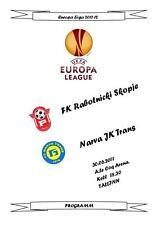2011 Europa League NARVA TRANS - FC Rabotnicki Skopie Unofficial programme