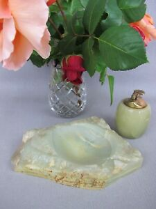 Vintage green onyx marble stone Trinket Coin Dish Tray / Ashtray & Table Lighter