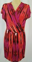 Chicos Red Black Pink Short Sleeve V-Neck Faux Wrap Dress Size 2 Large