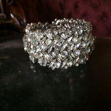 vintage cuff wedding bridal clear crystal rhinestone SHERMAN bracelet