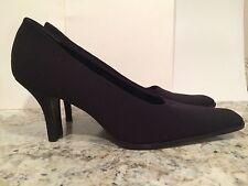 Prada Clásico Zapato salón tacón tela Trabajo Negro 36.5/6 Italia EXCELENTE