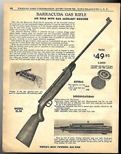 1959 BARRACUDA Model EL-54 Gas Air Rifle AD w/original price & specs