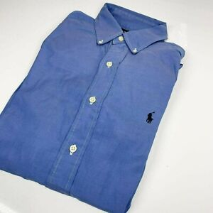 "Ralph Lauren Large Blue Classic Fit Button Shirt 15"" Collar Plain (1334 D1)"