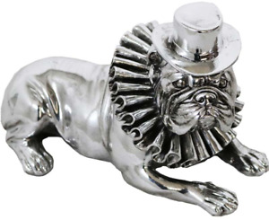 Große Bulldogge Figur 25cm Silber Bulldogge Mit Hut & Rüschen Kragen Liegend