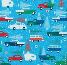 Fat Quarter Swell Noel Christmas Cars Campers 100% Cotton Quilting Fabric