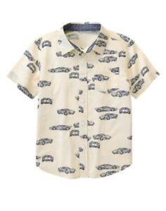 GYMBOREE AUTO CREW BEIGE w/ CARS PRINTED WOVEN S/S SHIRT 5 6 10 12 NWT