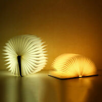Creative LED Booklight Wooden Book Shape Desk Lamp Night Light USB Rechargeable