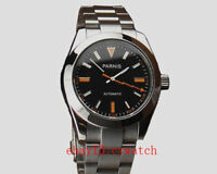 Parnis 40mm Black Dial Silvery PVD Case Sapphire Glass Automatic Mens Watch 969