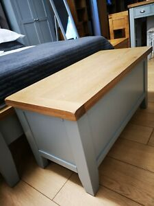 Hartwell Grey Painted Blanket Box / Solid Wood Blanket Chest / Bedroom Storage
