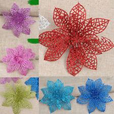 Wedding Glitter 5/10Pcs Christmas Artificial Party Tree Decor Xmas Flower Hollow