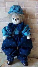 Vintage Ceramic Porcelain-Head, Hands, Feet Cloth-Body Clown Doll Figurine
