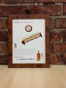Framed Original Vintage Johnnie Walker Whiskey Ad from The Tatler July 1939
