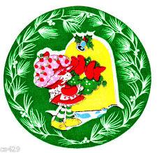"4"" Strawberry shortcake wreath holiday christmas fabric applique iron on"