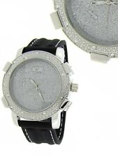 NEW BLING BLACK SILICONE BAND+ SILVER TONE ICE COVERED PAVE CRYSTALS DIAL WATCH