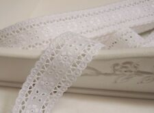 """14Yds Broderie Anglaise cotton eyelet lace trim 1.6"""" white YH1073 laceking2013"""