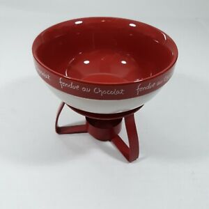 Fondue au ChocolatPetite Fondue Food Snack Dipping Bowl Red & White with Stand
