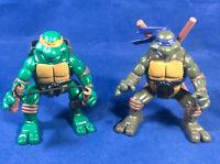 TMNT 2004 Ninja Action Series 4 / 5 - Michaelangelo & Donatello Jumping Figures
