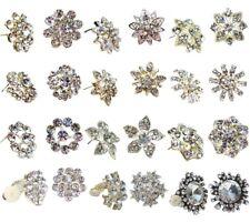 Silver Flower Crystal Stud Clip on Earrings Women Girls Dress Fashion Party Gift