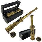 Antique Handheld Spyglass Telescope Wood Box Vintage Pirate Scope Captain Gifts