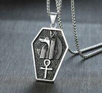 Stainless Steel Punk Rock Anubis Pendant Egyptian Pyramid Jackal God Necklace