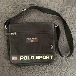 Black Ralph Lauren Polo Sport Crossbody Flag Messenger Bag Spell Out 90s Y2K