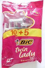 Rasoirs jetables femme * BIC * twin lady * Sensitive * 15 rasoirs * 100 % NEUF