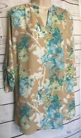 Worthington Women's Sky Floral Top Size 3X Tunic Length 3/4 Roll Tab Sleeves
