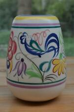 Vintage POOLE Pottery Vase Flower & Blue Cockerel Design