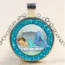 Photo Cabochon Glass Silver Chain Pendant Necklace(cute Mermaid Baby)