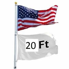 20Ft Sectional Flag Pole Kit 3'x5' US Flag+Aluminum Pole+Screwdriver Fly 2 Flags
