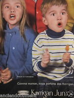 PUBLICITÉ 1958 KORRIGAN JUNIOR PIERROT ET COLOMBINE FRIMOUSSET - ADVERTISING
