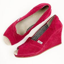 Toms Raspberry Pink Calypso Corduroy Wedge Open Toe Shoe Size 9 Women 4 inch