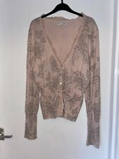 M&S AUTOGRAPH Peach Floral Ruffle Button Cardigan Tie Waist Cashmere Mix UK 12