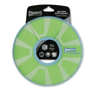 Chuckit! Zipflight Max Glow Dog Toy Green, White 1ea/Medium