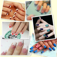 10X White PVC Beauty Sheets Stickers 3D Manicure Tips Decal Nail Care Art Random