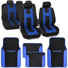 Rome Sport Seat Cover Set Front & Rear Racing Stripes Black/Gray plus Vinyl Mats