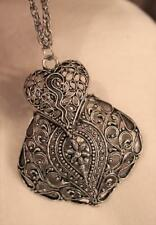 Lacy Sculpted Swirl & Floral Accent Layered Silvertone Teardrop Pendant Necklace