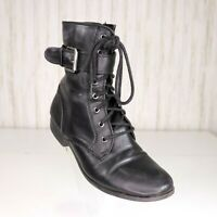 Style &Co Black Combat Boots Size 6.5 Womens Rickyst Lace Up Zipper Faux Leather