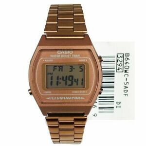 NEW CASIO RETRO UNISEX  DIGITAL ROSE GOLD ALARM CLASSIC WATCH B640WC-5A RRP £59