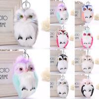Women Bag Pendant Owl Hair Ball Keyring Charm Keychain Cute
