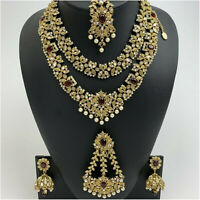 Kyles Indian Bridal Jewellery Set Necklace With Earrings Tikka & Jhummar Gold