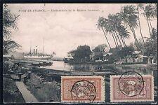 Martrinica. Postal circulada con sellos de 1c y 4 c