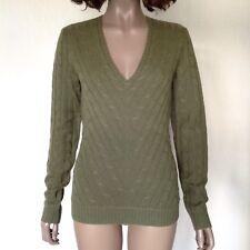 Ralph Lauren 100% Cashmere Slim Fit Sweater Vert Olive En Tricot Torsadé Taille XS/S