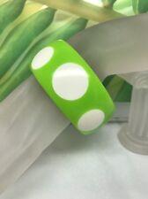 Lime Green Injected White Polka Dot Plastic Lucite Bangle Bracelet