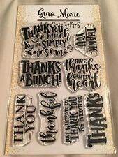Gina Marie clear unmounted cling stamp set Thank you words stamps