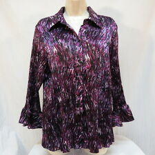 Dress Barn Purple Wine Black White Crinkled Shirt Size XL